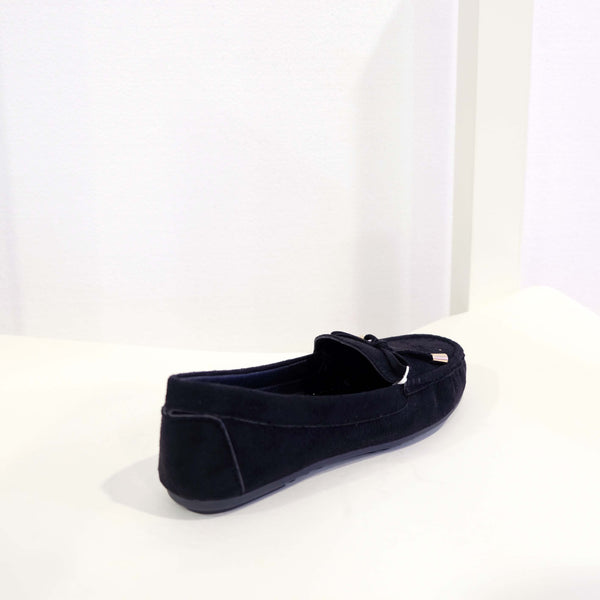 Suede Ribbon Flat in Black