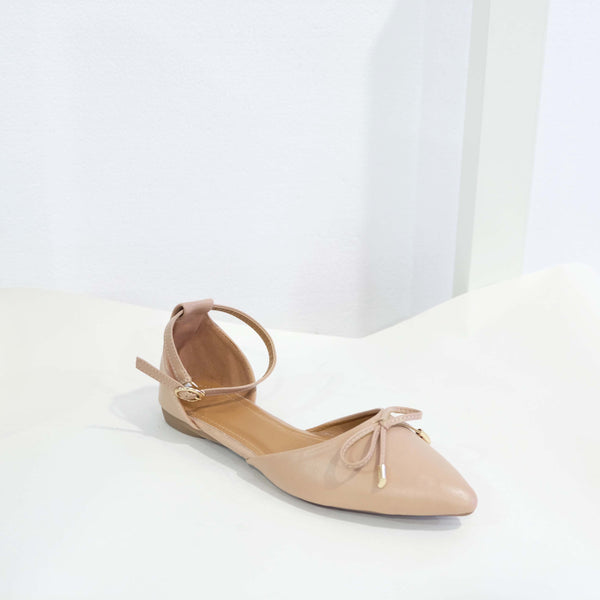Ribbon Pointed D'orsay Flat in Pink