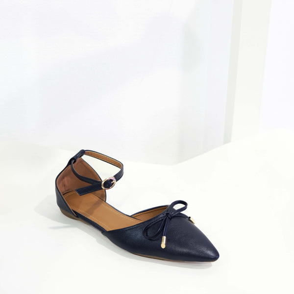 Ribbon Pointed D'orsay Flat in Black