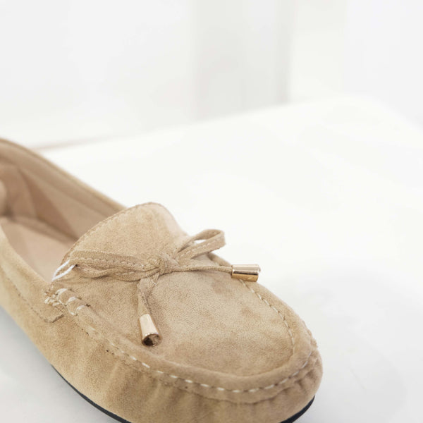 Suede Ribbon Flat in Apricot