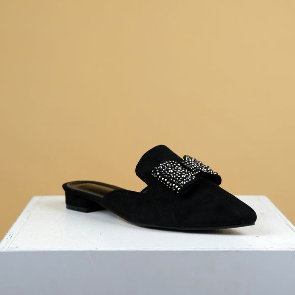 Shiny Bow Flat in  Black