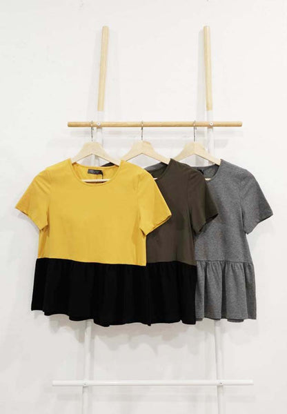 [FREE]Casual – Color Block Tee in Mustard / Green / Grey