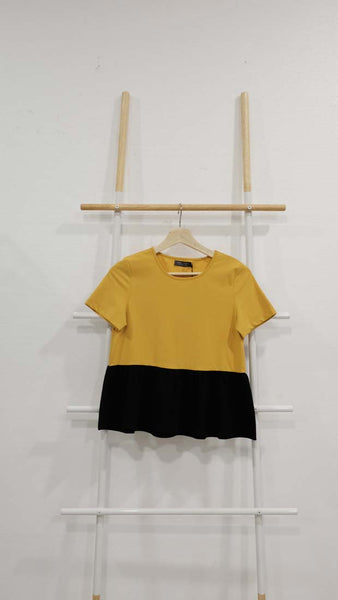 Casual – Color Block Tee in Mustard / Green / Grey