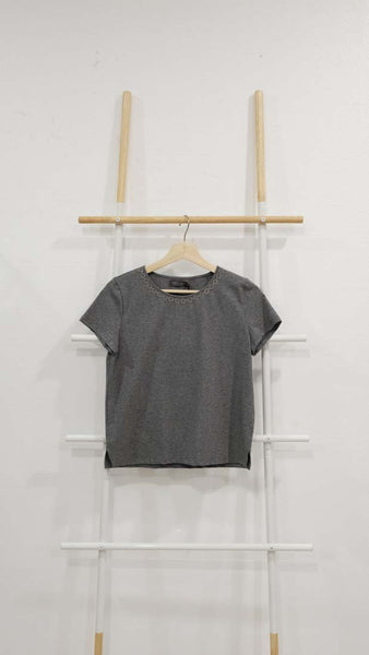 Casual – Ring Chain Tee in Grey / Green