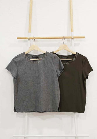 【16】Casual – Ring Chain Tee in Grey / Green