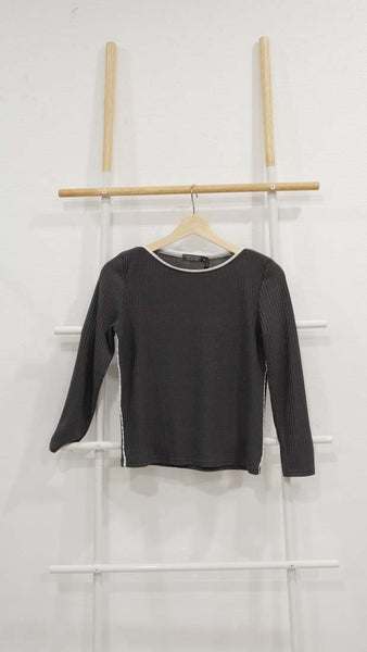 Casual – Long Sleeve Knit Top in Grey