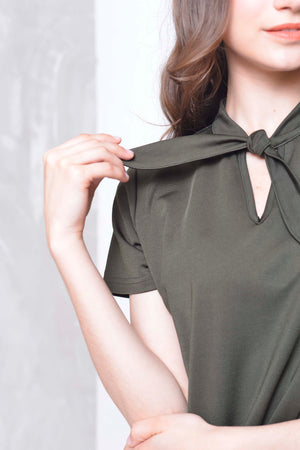 Basics-Dahlia Dress in  Ar.Green
