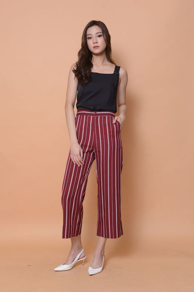 Casual-High rise strips prints culottes in maroon