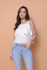 Casual-2 Layer eyelet top in white