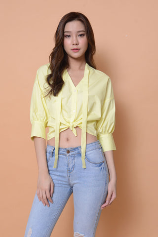 Collection-Puff sleeve cotton top in yellow