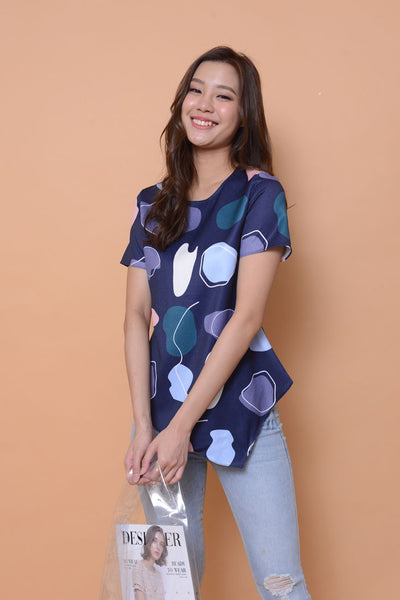 Collection-Abstract prints top  in navy