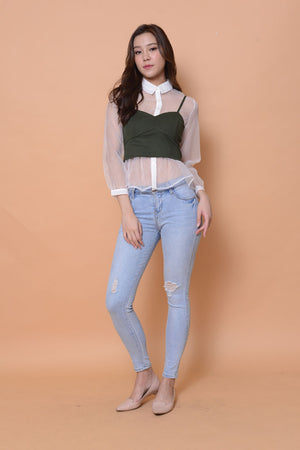 Casual-Sweetheart Crop Top in green