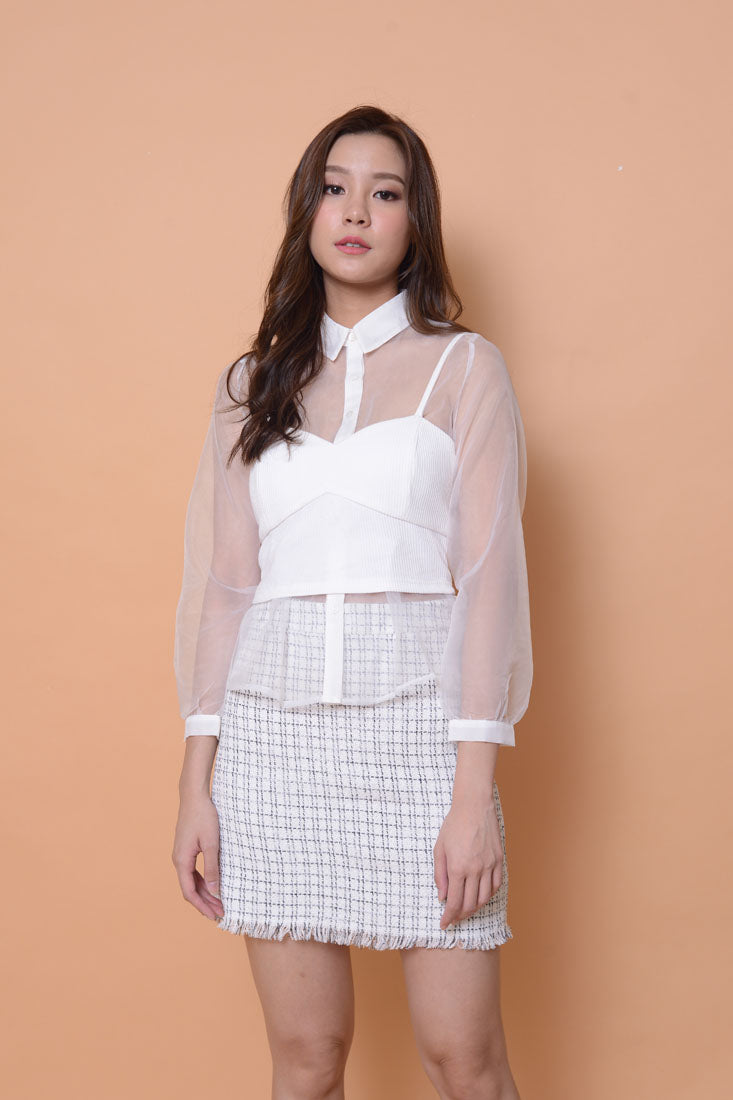 Collection-Organza KC top in white