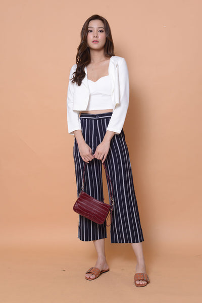 Casual-High rise strips prints culottes in navy