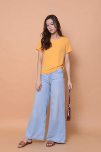 Lyden- drawstring side-seam top in mustard