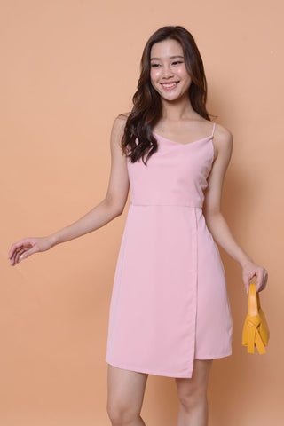 Collection-crawl neck dress in pink