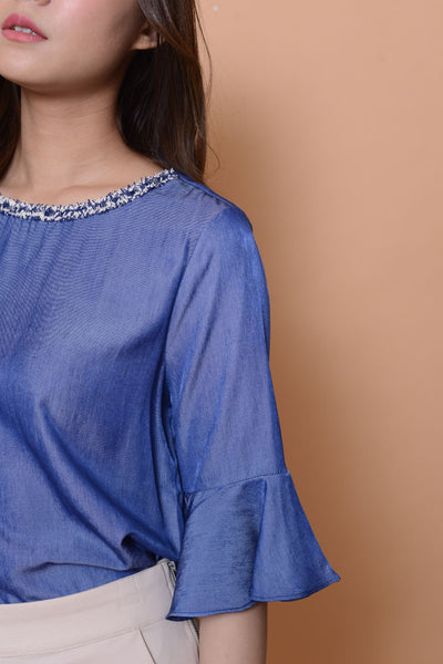 Lyden-Ladies top in blue