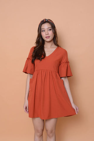 Casual- Flare sleeve Babydoll Dress in mahogany