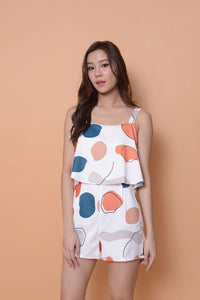 Collection-Abstract prints jumpsuit in white