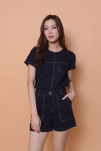 Casual- Stitches Line Design top in Navy