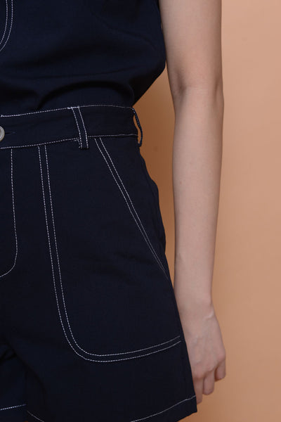 Casual- Stitches Line Shorts  in navy