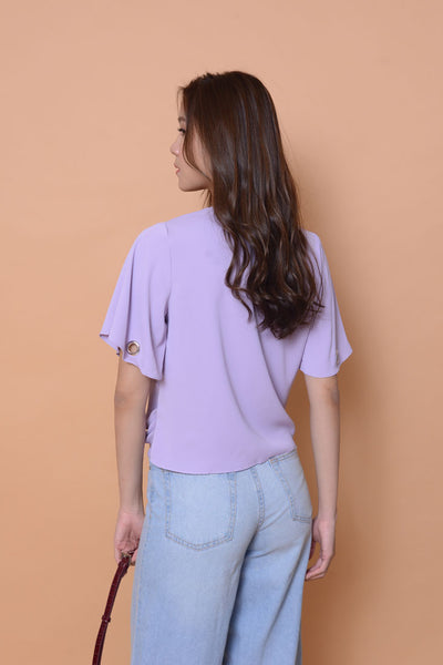 Casual-Flutter sleeve eyelet top in purple