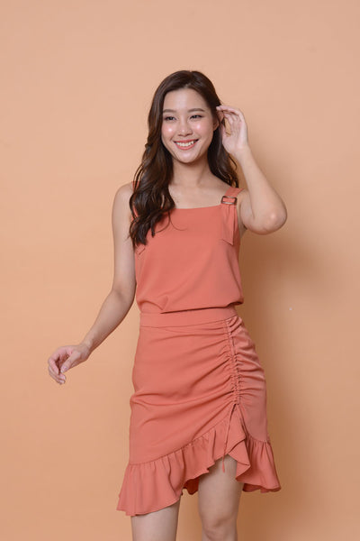 Casual- Ladies pleated skirt in chic-orange