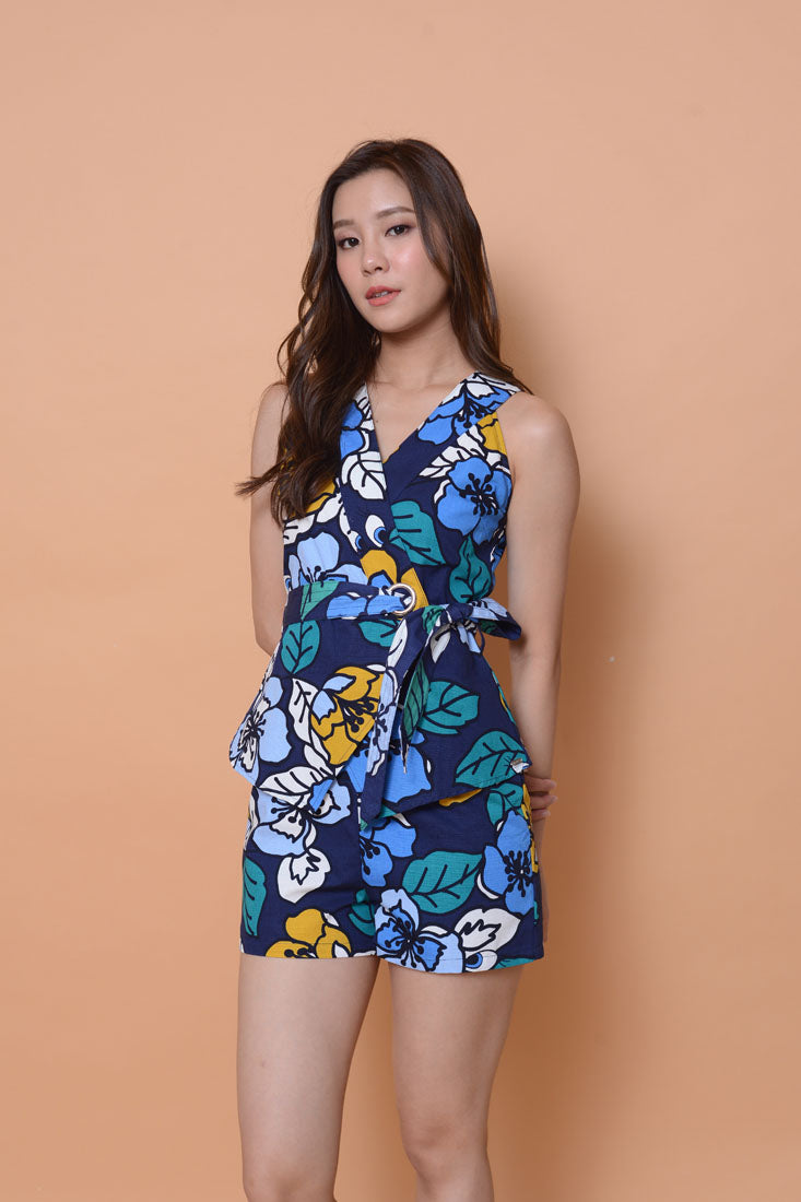 Collection- Bloomy prints jumpuit in navy