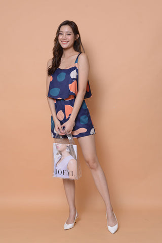 Collection-Abstract prints jumpsuit in navy