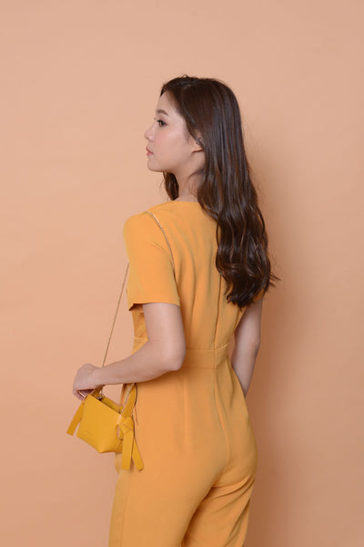 Collection-[petite cutting] designer jumpsuit in mustard
