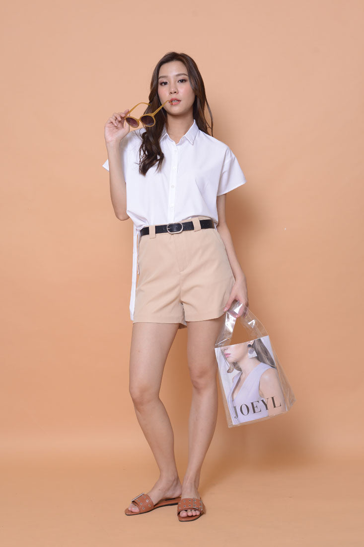 Casual-Collar eyelet top in white