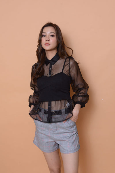 Collection-Organza KC top in BLACK