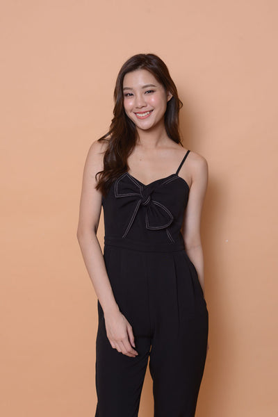 Collections-Ribbon tier jumpsuit in black