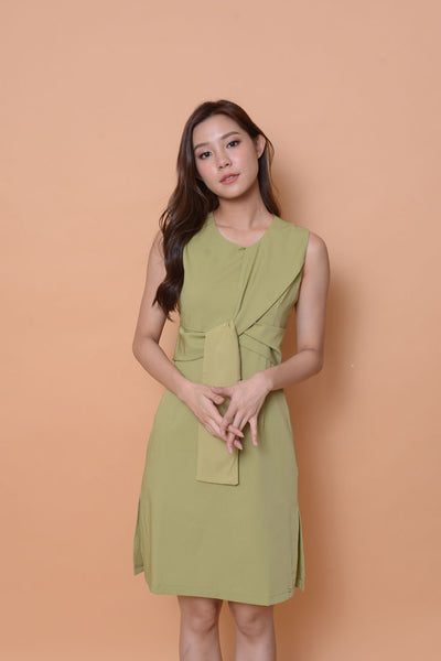 Collection-Ribbon tier dress in Green