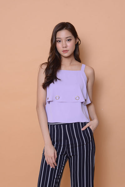 Casual-2 Layer eyelet top in purple