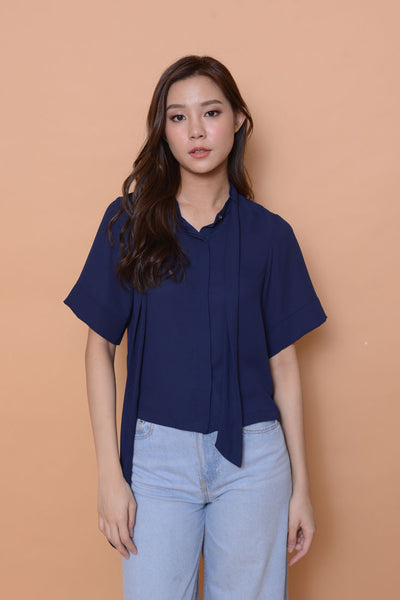 Lyden- tier high neck top in navy