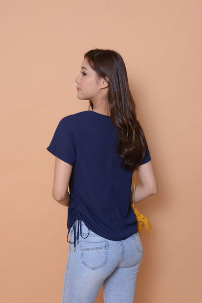 Lyden- drawstring side-seam top in navy