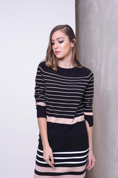 KNIT-Tina Top in Black