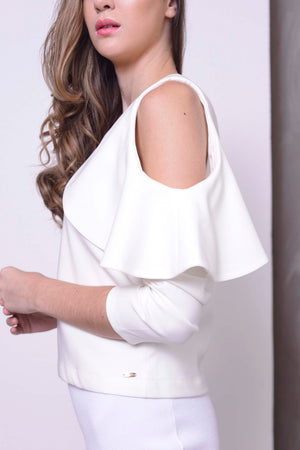 COLLECTIONS-Tasya Crop Top in White
