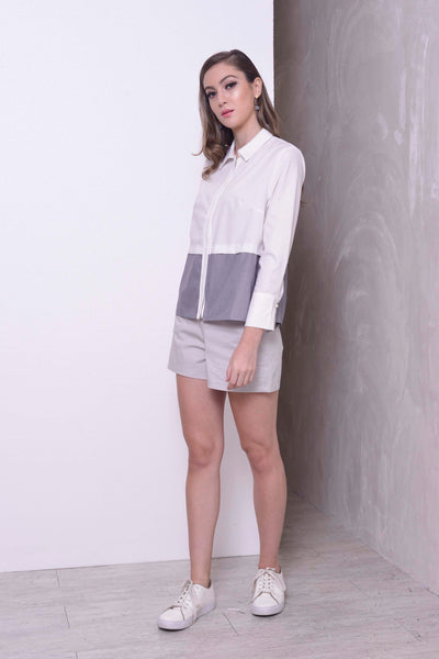 BASICS-Maivey Top in White – Grey