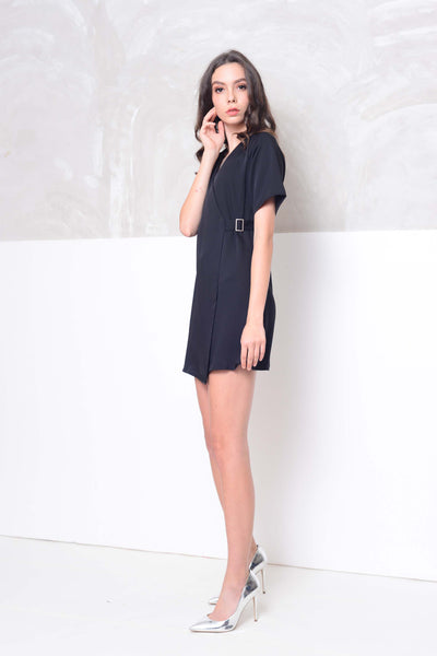 Basics-Raglan design mini dress in black