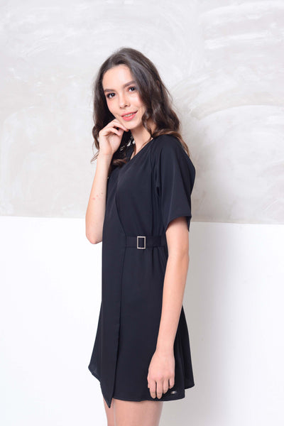 [BUY]Basics-Raglan design mini dress in black