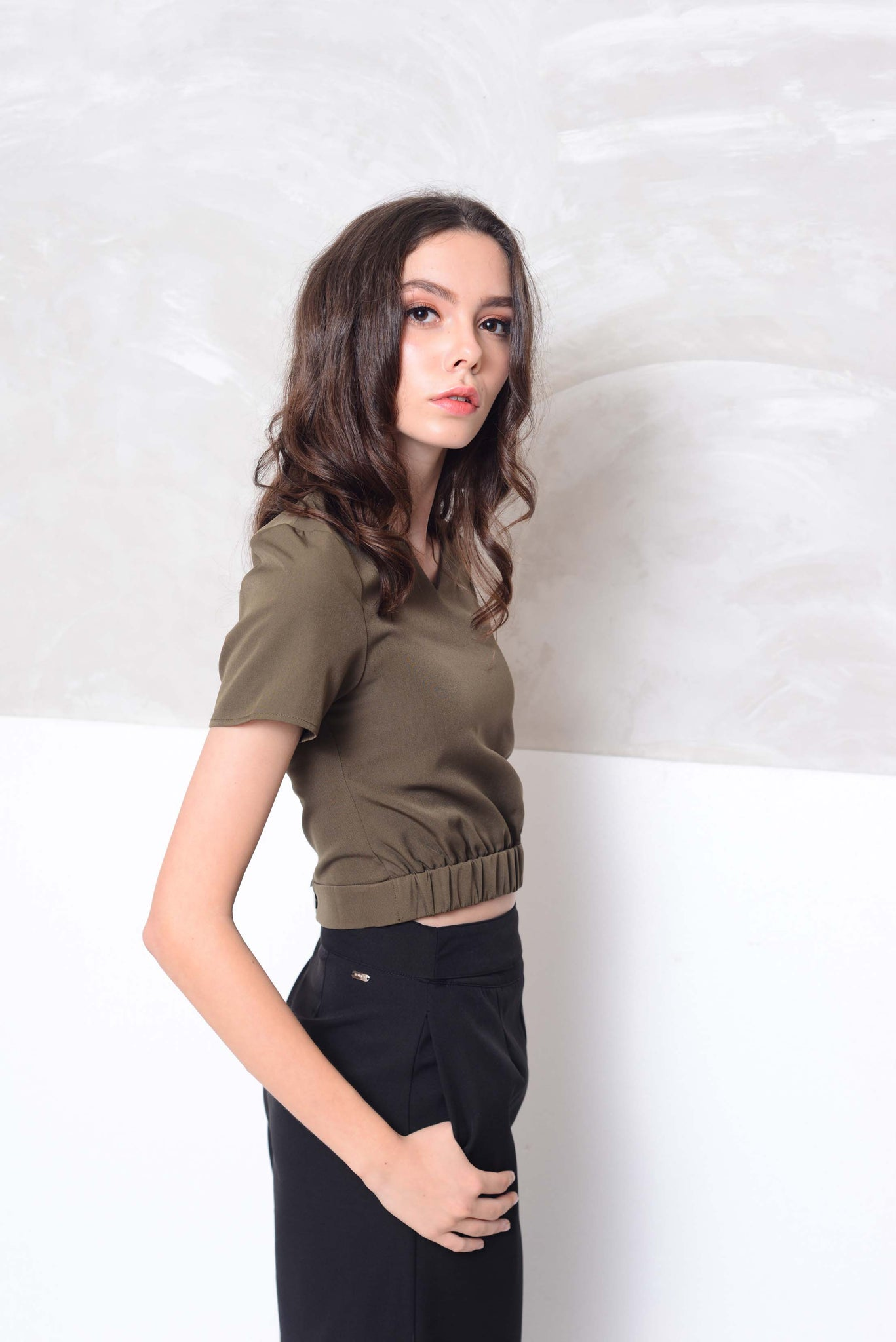 Basics- V neckline mini crop top in green