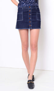 Denim-Denim button through skort in blue