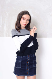 Knit- Fashion strips knit crop top in grey