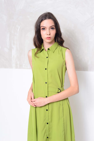 Basics-D-ring design midi dress in green