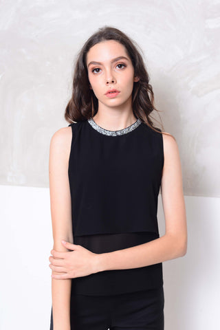 Basics-Slvless chiffon layer blouse in black