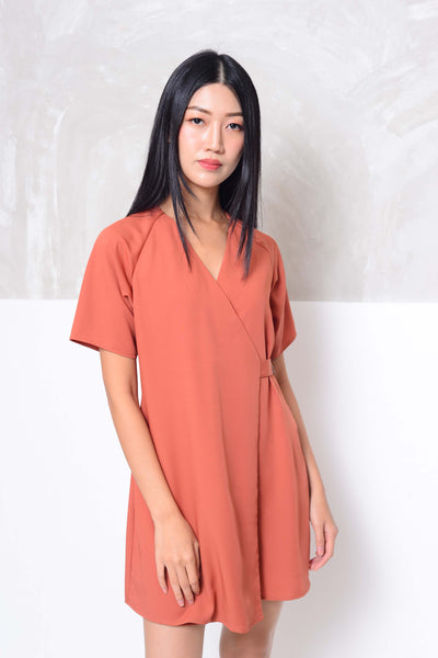 Basics-Raglan design mini dress in red