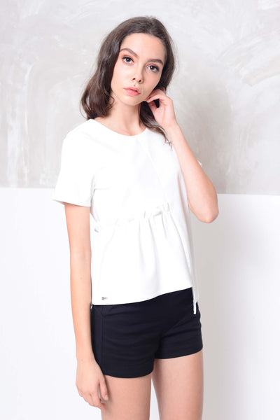 Collection – Design front gather blouse in white