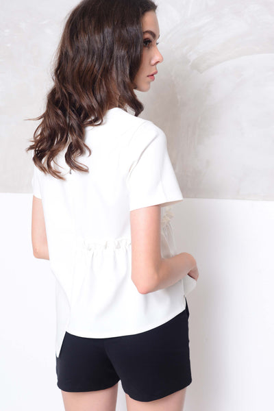 [BUY]Collection – Design front gather blouse in white